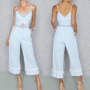 NWT Anthro Moon River Embroidery Accent Jumpsuit L